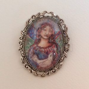 Angel and dove brooch -L