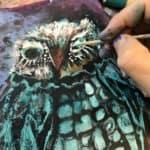 Owl painting WIP detail