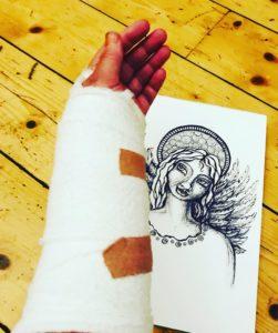 Angel drawing and bandage