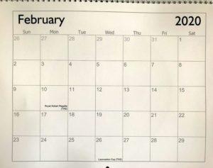 Calendar format 2020