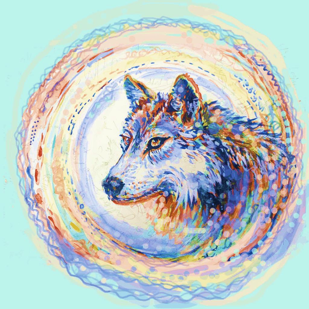 Circle wolf rainbow