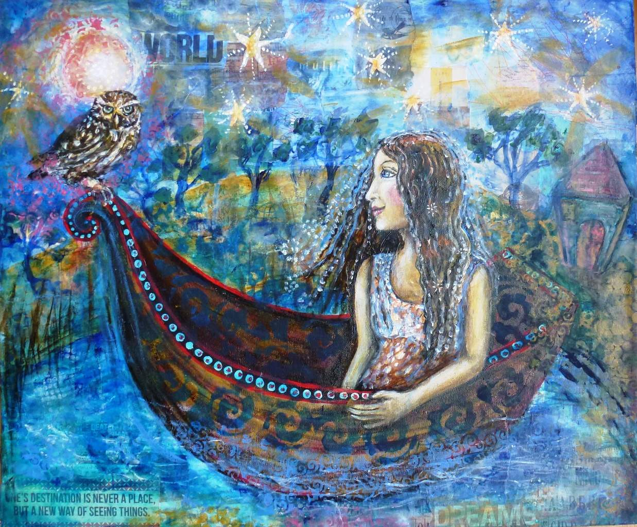 Dreamscape  Original artwork by Cheryle Bannon Mixed media acrylic collage on canvas.