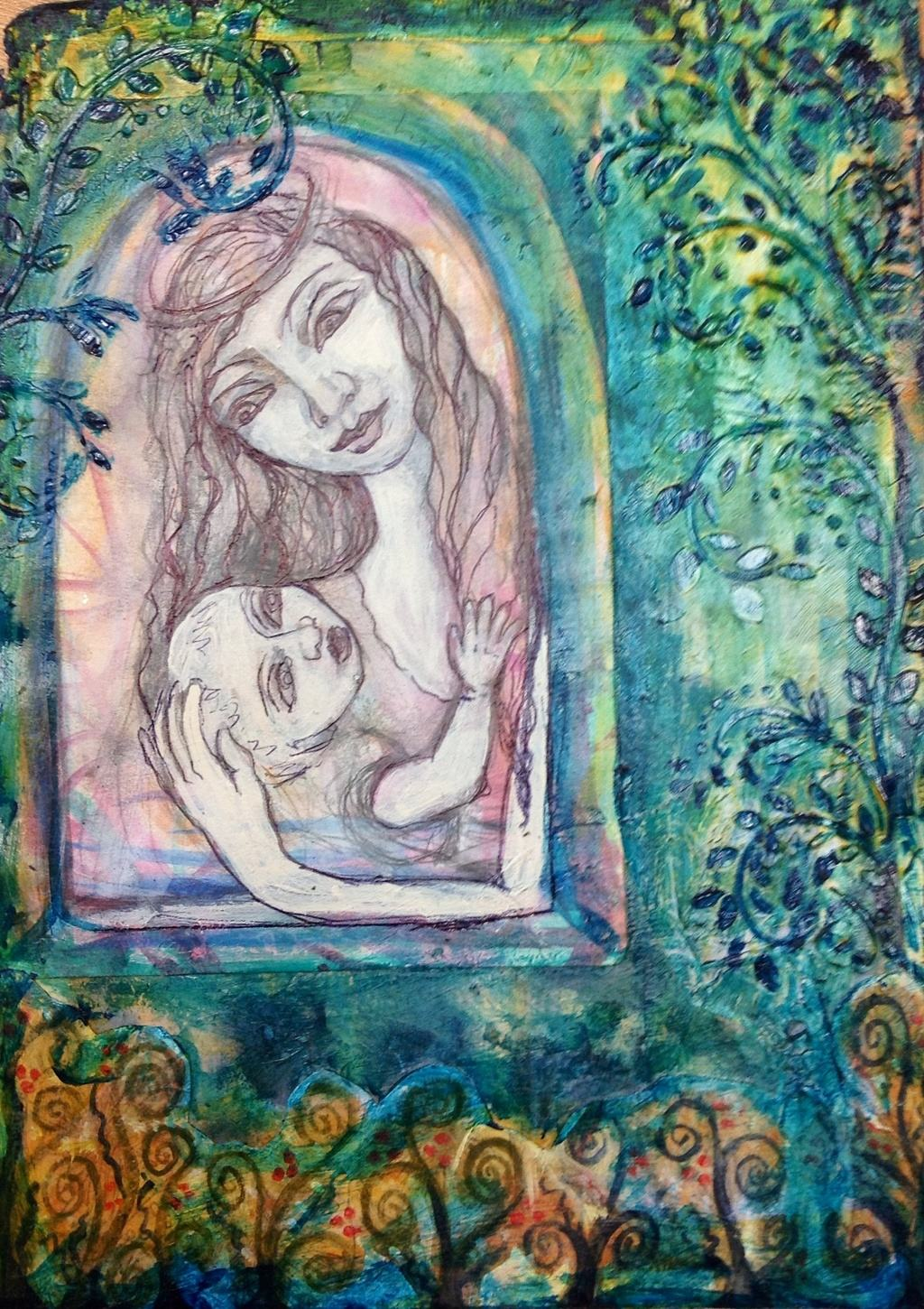 Within the garden window she cradles her.
