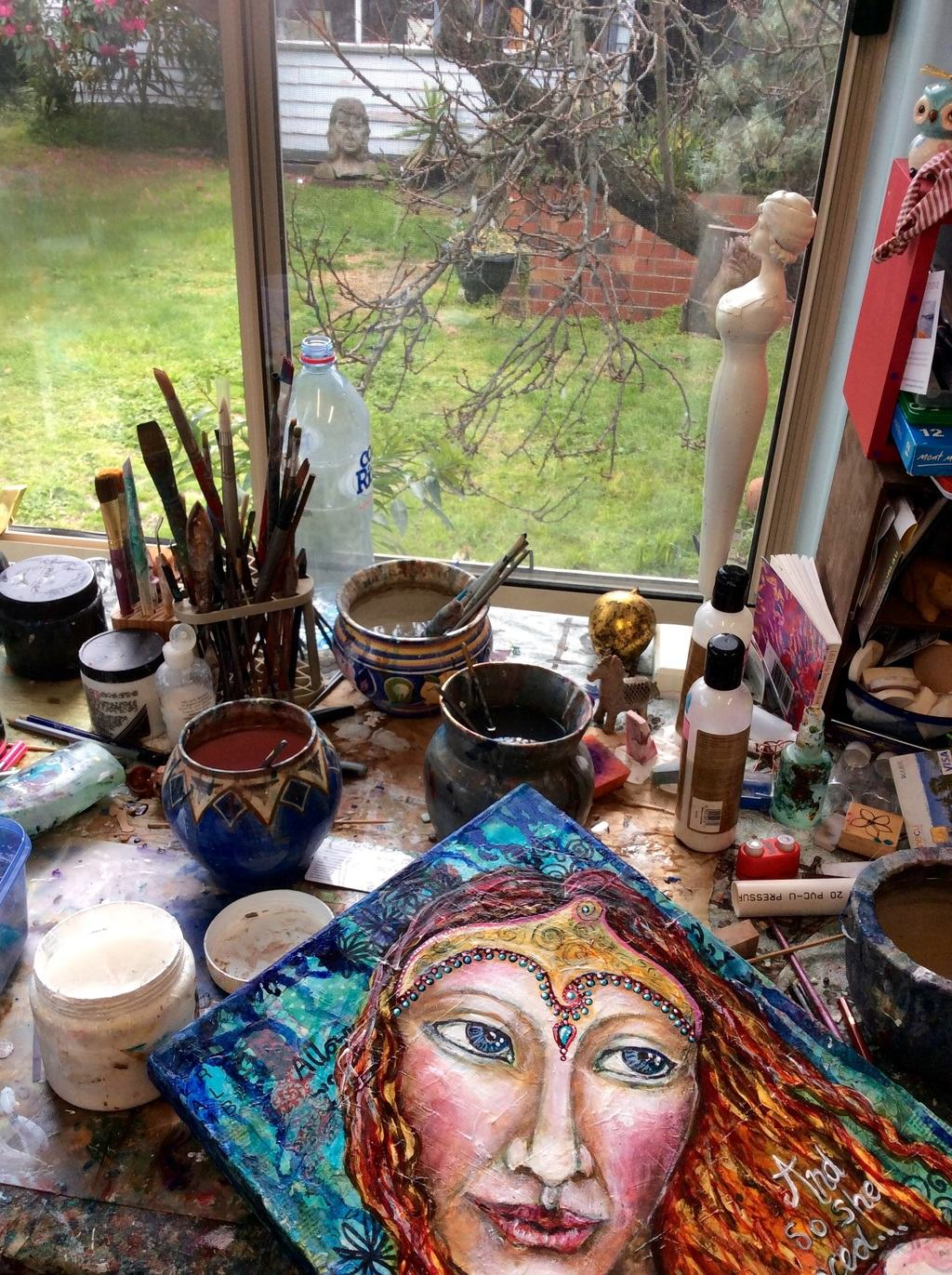 Winter light through my studio window.