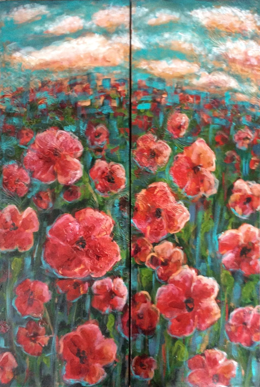 Large diptych: field of red poppies.