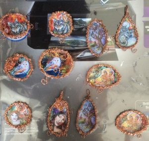 Resin and wire brooches