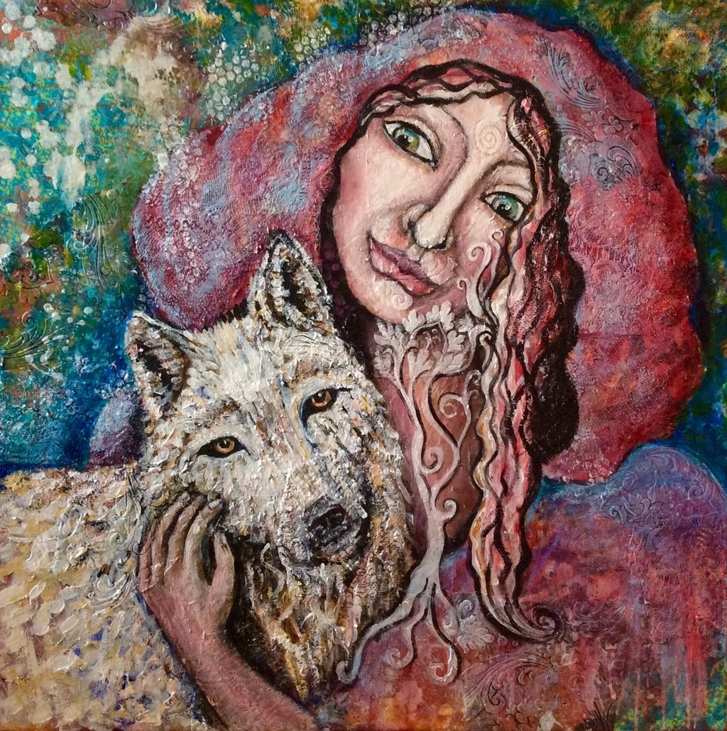 She is on her journey path, guided by the White wolf as her teacher and companion.