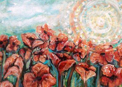 Orange poppy field