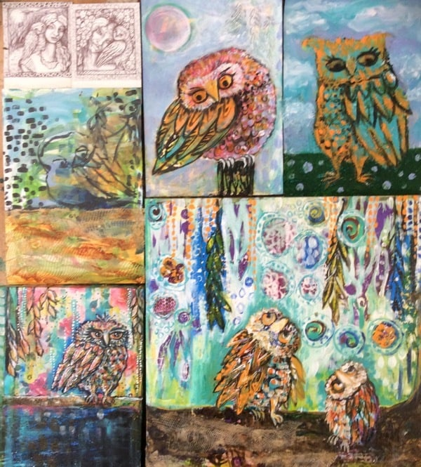 Whimsical owls WIP