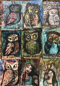 Owl paintings wip