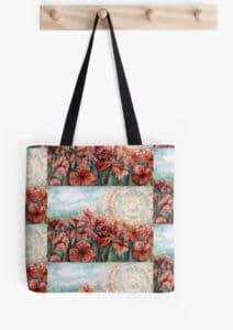 Red poppy field canvas bag