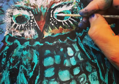Owl painting detail
