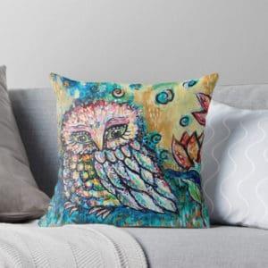 Owl cushion on bed