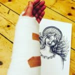Angel drawing and bandage