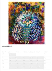 Owl calendar page