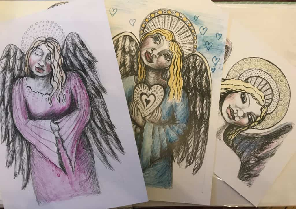 Embellished angel drawings