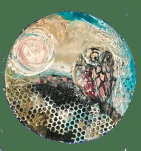 Owl play mixed media resin