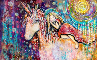 Rainbow unicorn dreaming enchanted art