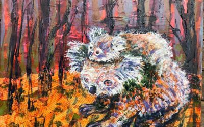 Bush fire animal art