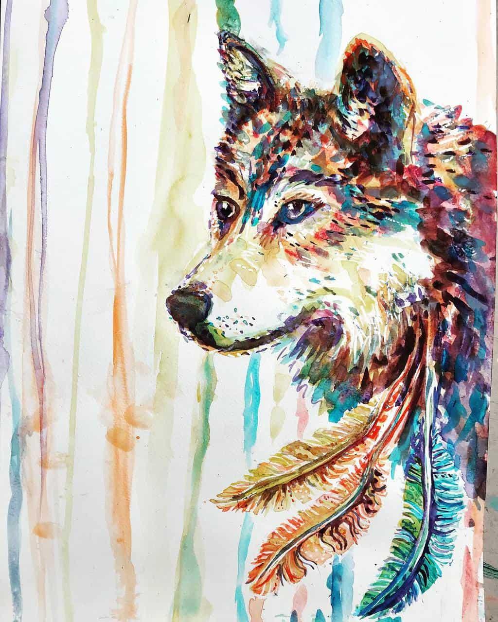 Rainbow wolf dreaming